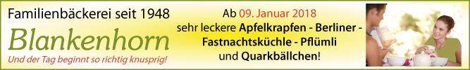 Familienbäckerei Blankenhorn in Stuttgart-Degerloch  - Bei uns duftet`s ab 09. Januar 2018 nach leckeren Apfelkrapfen-Berliner-Fastnachtsküchle-Pflümli und Quarkbällchen!